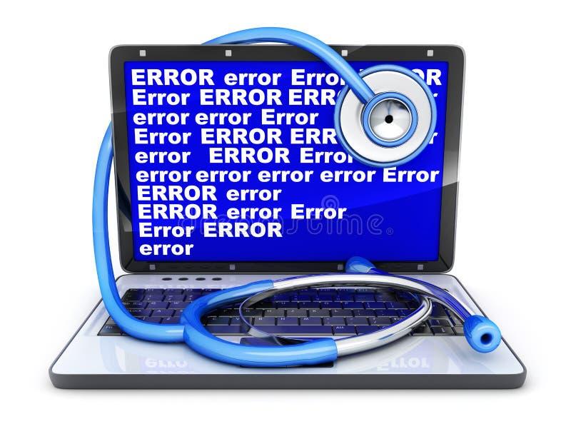 Erreur d'ordinateur portable et d'écran bleu illustration de vecteur