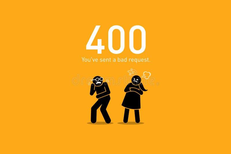 Erreur 400 de site Web Mauvaise demande illustration stock