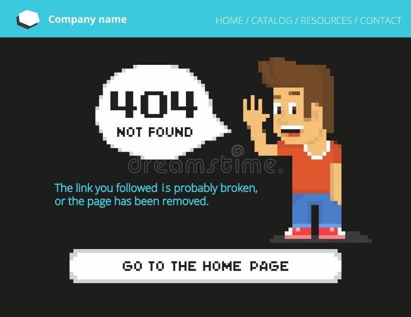 Erreur du garçon 404 de pixel illustration stock