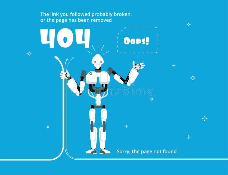 Erreur 404 Page non trouvée de site Web avec le message d'avertissement Descripteur de vecteur illustration libre de droits