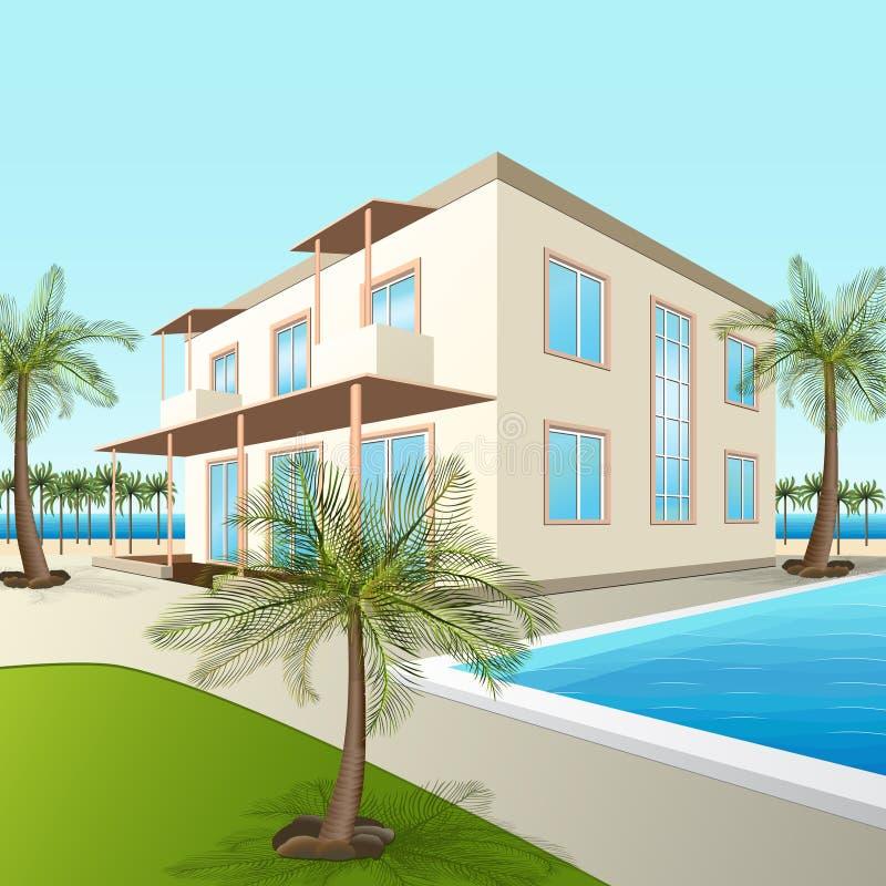 Errichten eines kleinen Hotels mit Meer und Palmen vektor abbildung