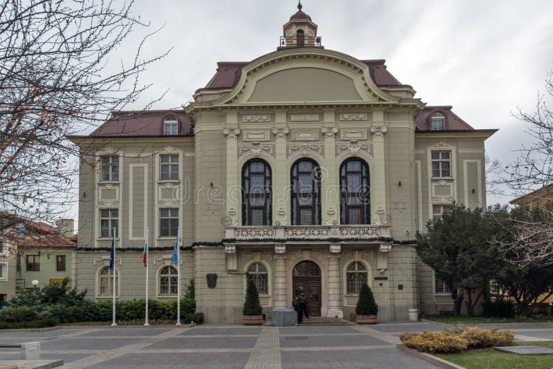 Errichten von Rathaus in Plowdiw, Bulgarien stockfotografie