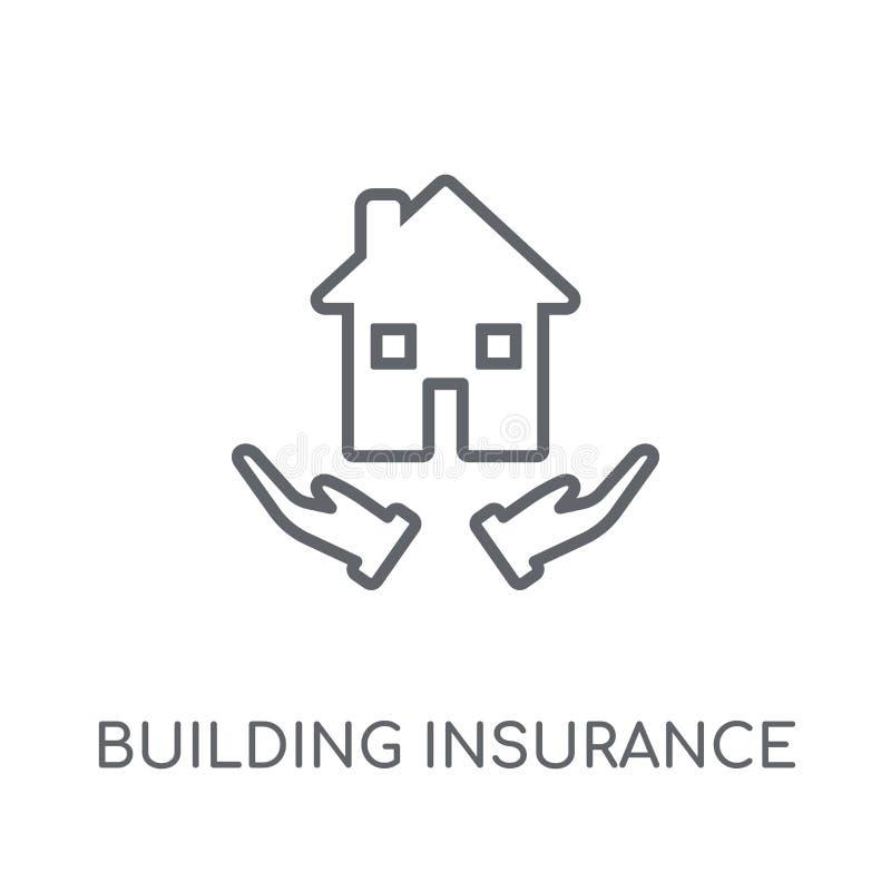 Errichtende lineare Ikone der Versicherung Modernes Entwurf Gebäude insuranc lizenzfreie abbildung