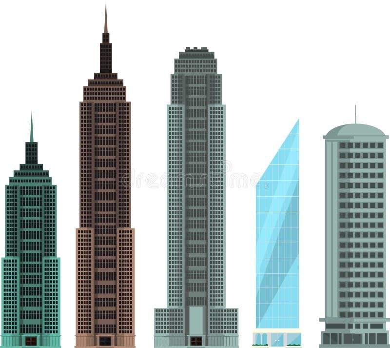 Errichtende moderne Wohnungswolkenkratzerskyline stellten 8 ein vektor abbildung