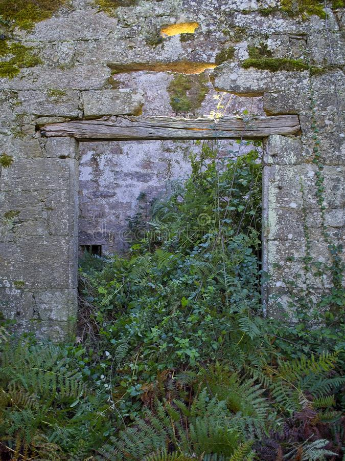 Errichtende Ruinen in San Paio de Abeleda, Ourense, Spanien stockfotos