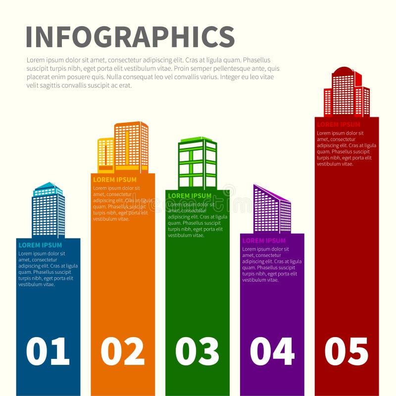 Errichtender infographic Satz stock abbildung