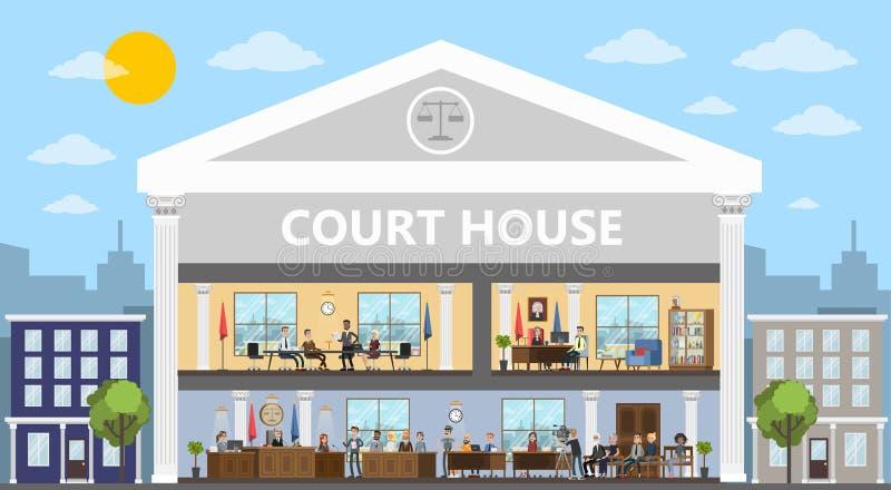 Errichtender Innenraum des Gerichtes mit Gerichtssaal und Büros lizenzfreie abbildung