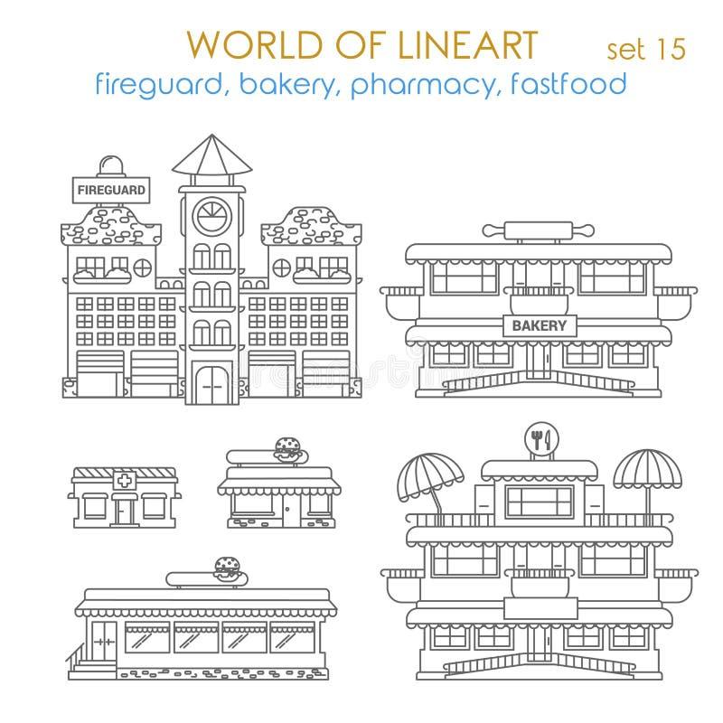 Errichtendes Äußeres der Lineart-Vektor-Stadt: Bäckerei, Shop, Restaurant lizenzfreie abbildung