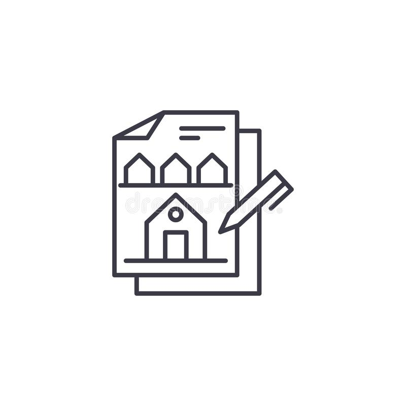 Errichtendes lineares Ikonenkonzept des Designs Errichtendes Design zeichnen Vektorzeichen, Symbol, Illustration lizenzfreie abbildung