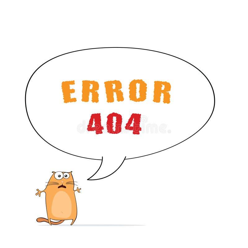 Erro 404 com gato ilustração stock