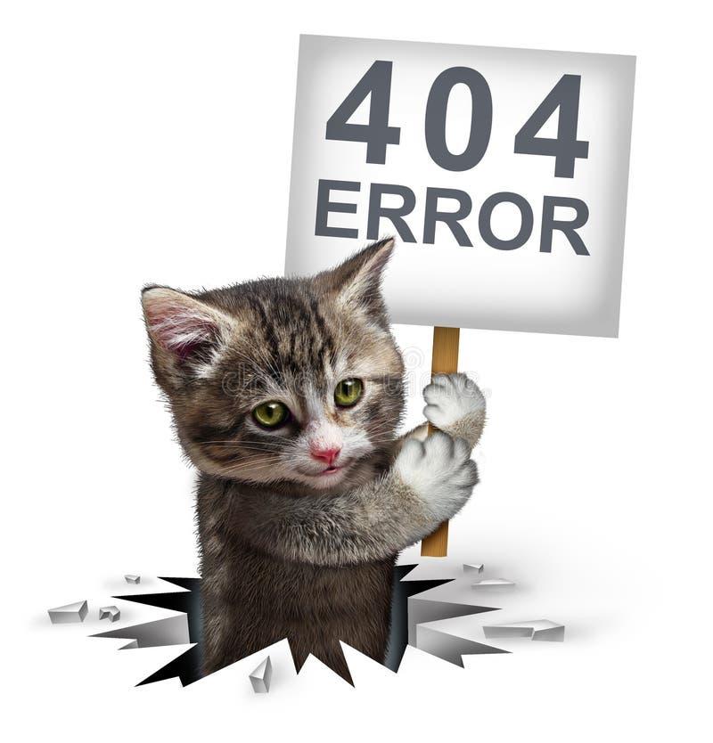 Erro 404 com um gatinho ilustração royalty free