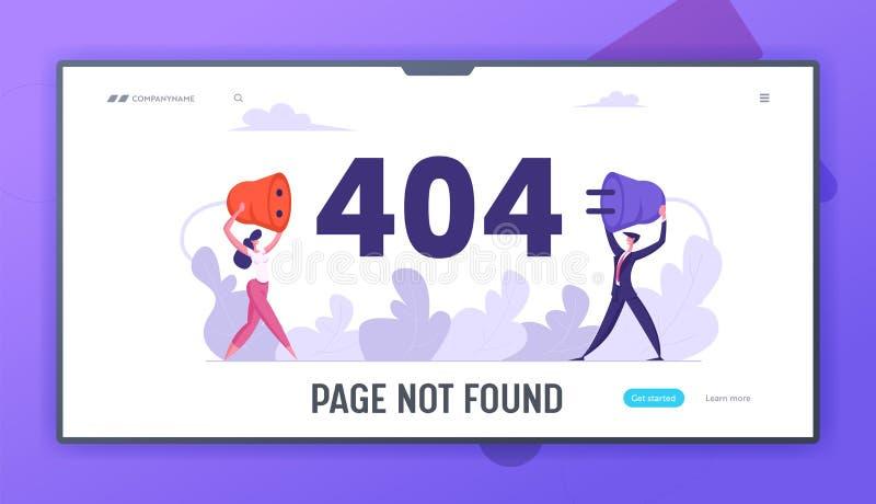 Erro de site na página 404 com caracteres de negócios segurando soquete de plugue com fio Modelo de Página Não Encontrada, Intern ilustração do vetor