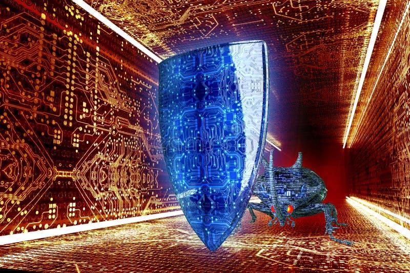 Erro do computador do conceito da segurança de Digitas no ambiente eletrônico, 3 ilustração do vetor