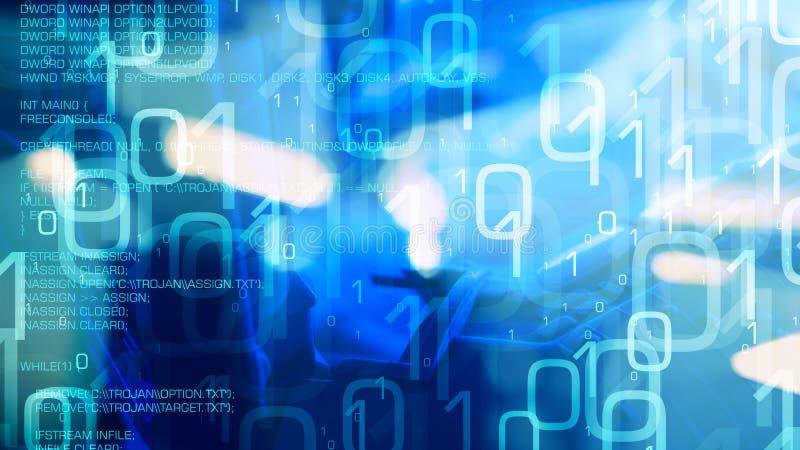 Erro do computador do vírus do Trojan, concepção da ameaça do ataque do cyber ilustração royalty free