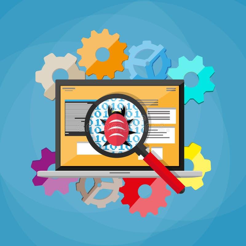 Erro e vírus no código de programação ilustração stock