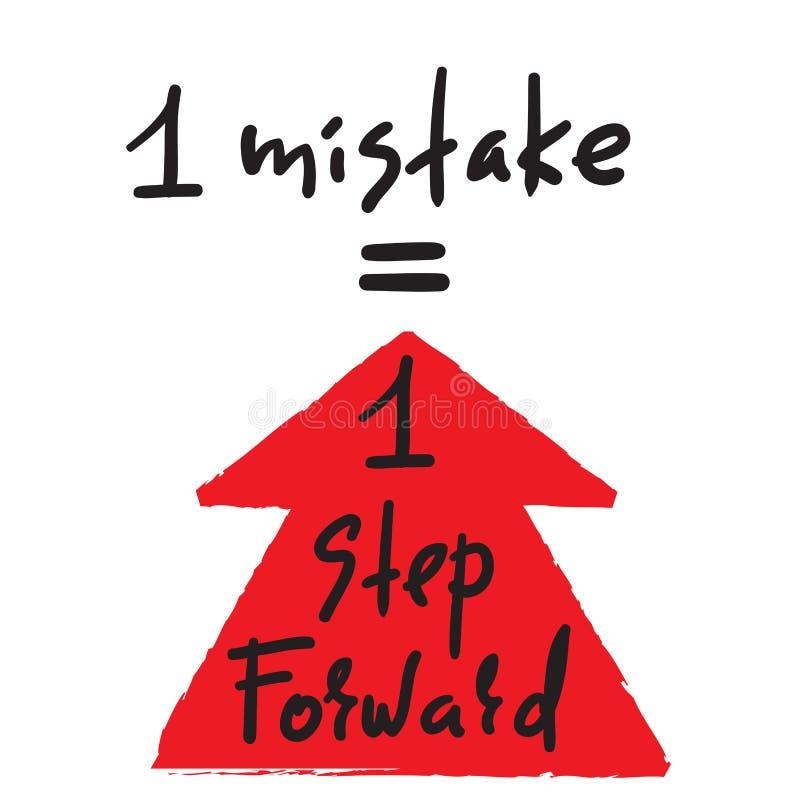 1 erro = 1 etapa para a frente - inspire e citações inspiradores Rotulação bonita tirada mão ilustração royalty free