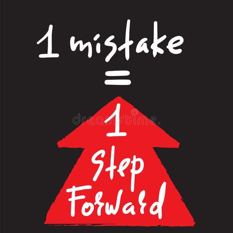 1 erro = 1 etapa para a frente - inspire e citações inspiradores Rotulação bonita tirada mão Cópia para o cartaz inspirado, t-shi ilustração stock