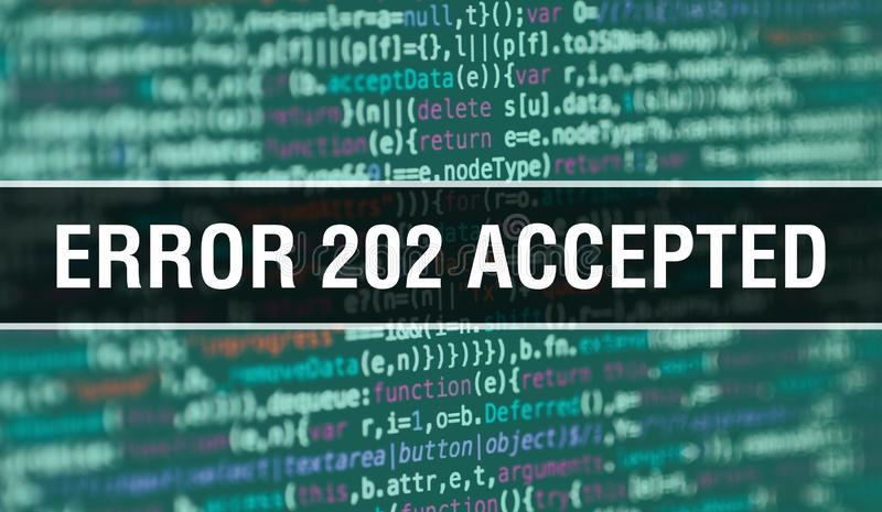 Error 202Accepted concept illustration using code for developing programs and app. Error 202Accepted website code with. Colorful tags in browser view on vector illustration