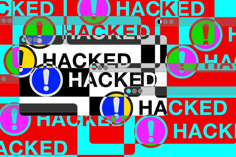 You hacked! More Error windows. Danger pages. Exclamation sign. Computer glitch. vector design for you technology projects royalty free illustration