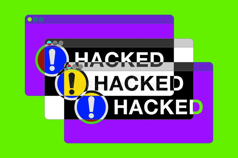 You hacked! More Error windows. Danger pages. Exclamation sign. Computer glitch. vector design for you technology projects stock illustration