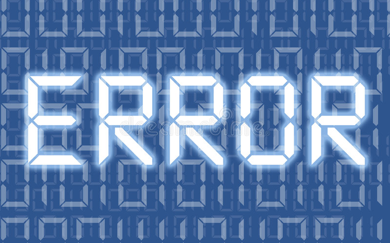 Error. Screen of computer blue message with zeros and ones vector illustration