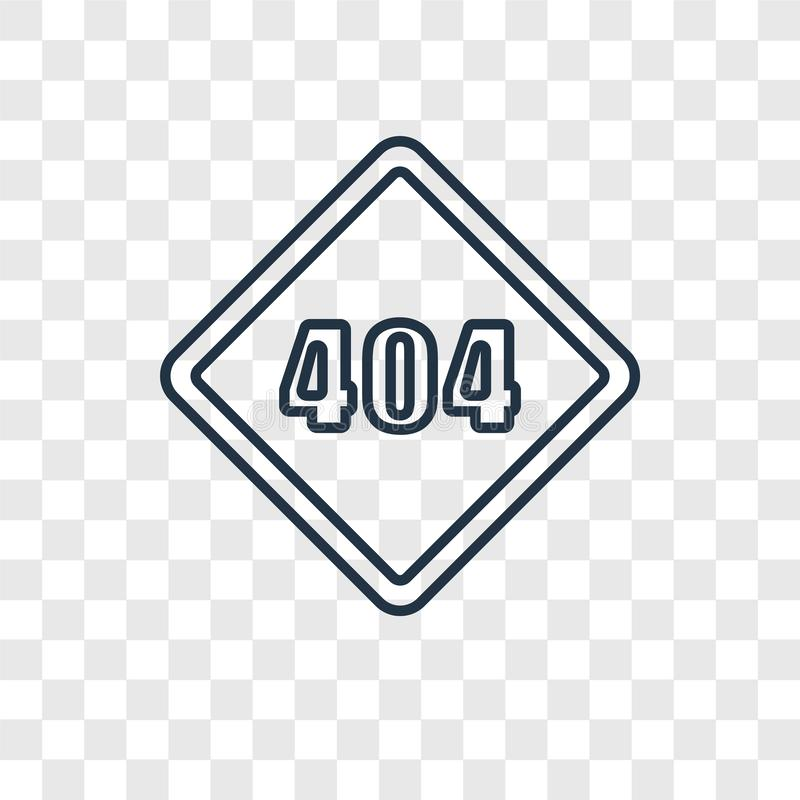 Error 404 concept vector linear icon isolated on transparent background, Error 404 concept transparency logo in outline style. Error 404 concept vector linear vector illustration