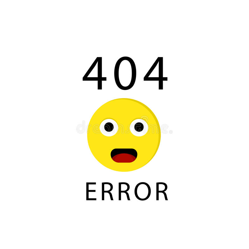 error de 404 conexiones con el emoticon o el emoji de la cara Triste, página no encontrada Ilustración del vector ilustración del vector
