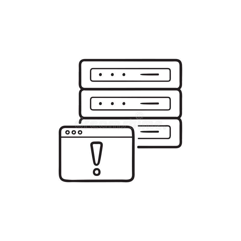 Error de servidor con el icono exhausto bloqueado del garabato del esquema de la mano de la página web stock de ilustración