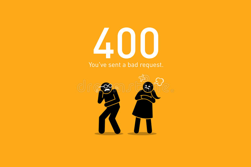 Error 400 del sitio web Mala petición stock de ilustración
