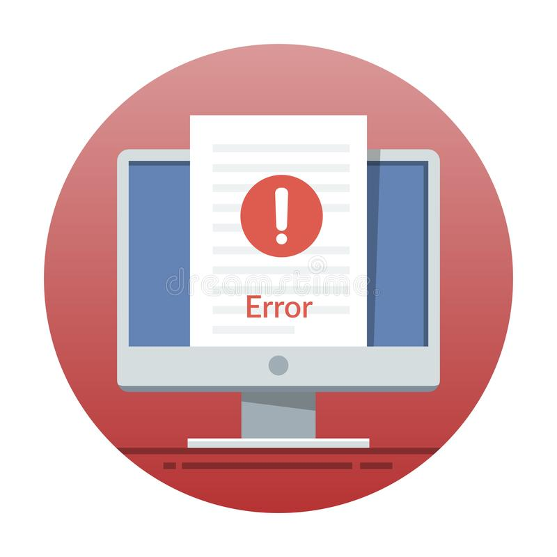 Error icon on the monitor screen. Flat vector illustration for mobile application or web site interface. Error icon on the monitor screen. Flat vector stock illustration