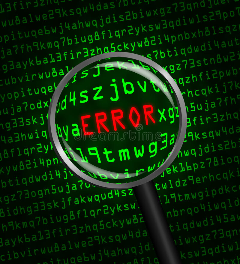 Free ERROR In Red Revealed In Green Computer Machine Code Through A Magnifying Glass Royalty Free Stock Photos - 41026288