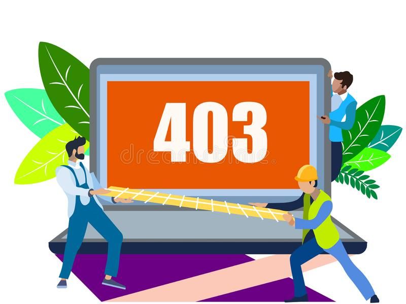 Error 403. In minimalist style. Flat isometric vector illustration stock illustration