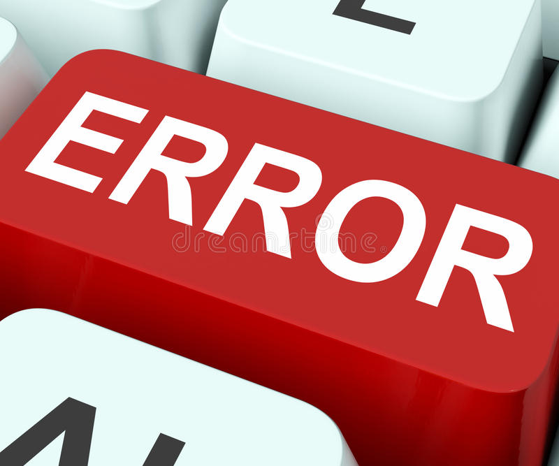 Error Key Shows Mistake Fault Or Defects. Error Key Showing Mistake Fault Or Defects stock photo