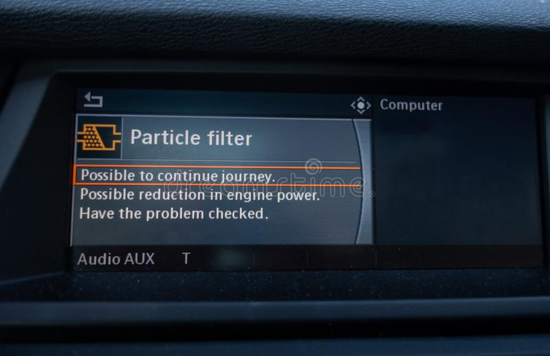 Error message from the cars on board computer warning that particle filter has problem. And the power is reduced royalty free stock photo