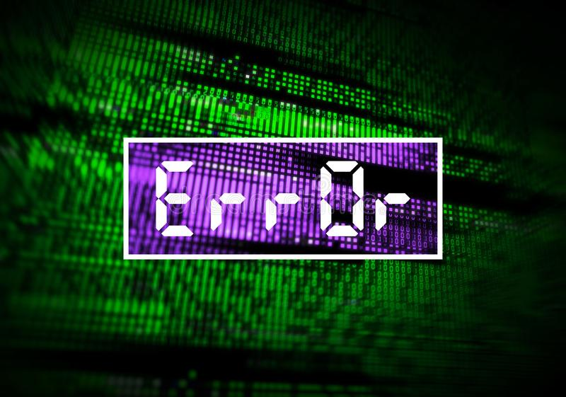 Error message, corrupted computer data loss. With glitch effects over digital binary code. IT industry, cybersecurity and networks concept with selective focus royalty free stock photography