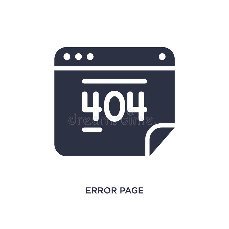 error page icon on white background. Simple element illustration from user interface concept vector illustration