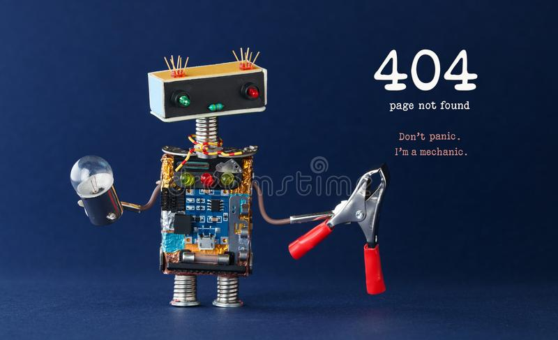 404 error page not found concept. Don`t panic I`m a mechanic. Robot handyman with red pliers light bulb on dark blue stock photo