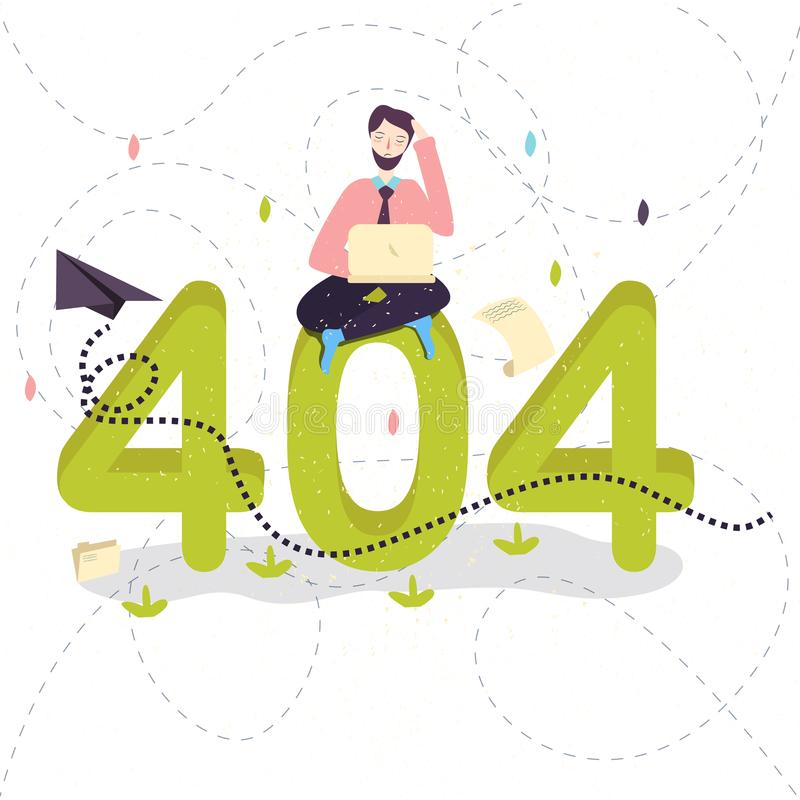 404 error page not found concept illustration of people using laptops having problems with website. Flat design of guys. Sitting near big symbol 404 working on stock illustration