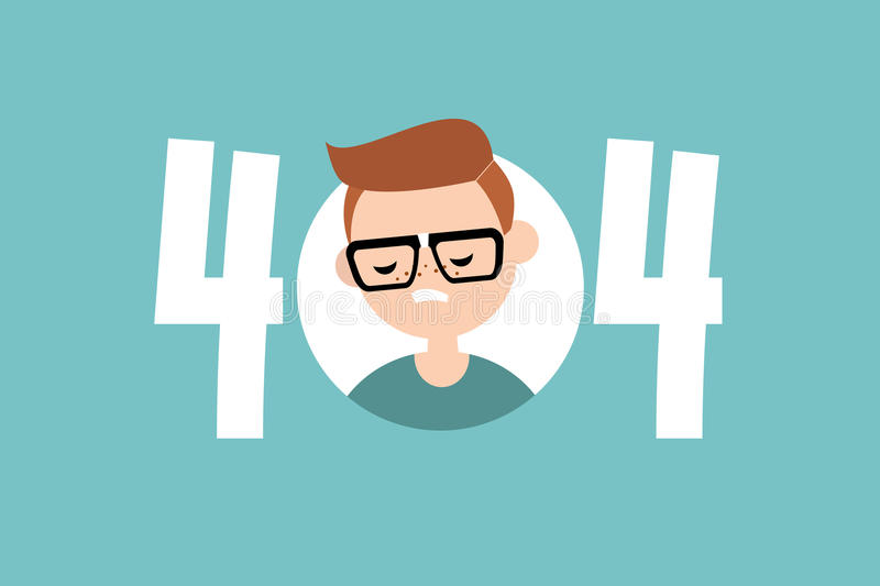 404 error. page not found. Conceptual illustrated sign stock illustration