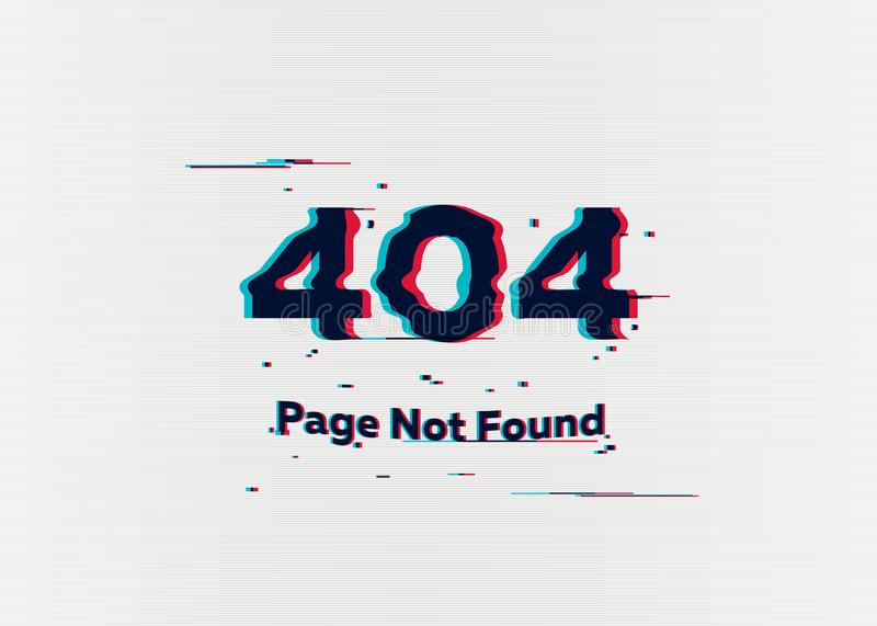 Error 404 page not found. Error with glitch effect on screen. Vector illustration for your design. Error 404 page not found. Error with glitch effect on screen stock illustration
