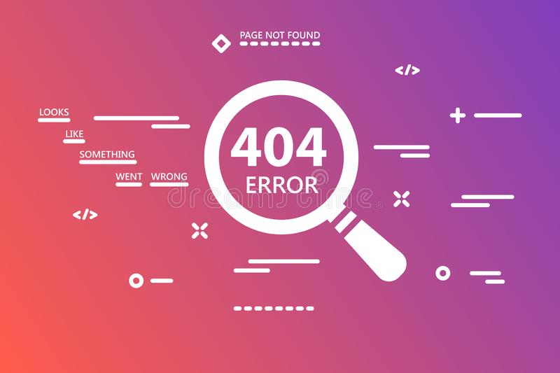 404 error page not found illustration with magnifying glass on g. Radient pink colored background with line art stock illustration