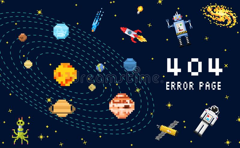 404 error page. not found. space background, spaceman, robot rocket and satellite cubes solar system planets pixel art vector illustration