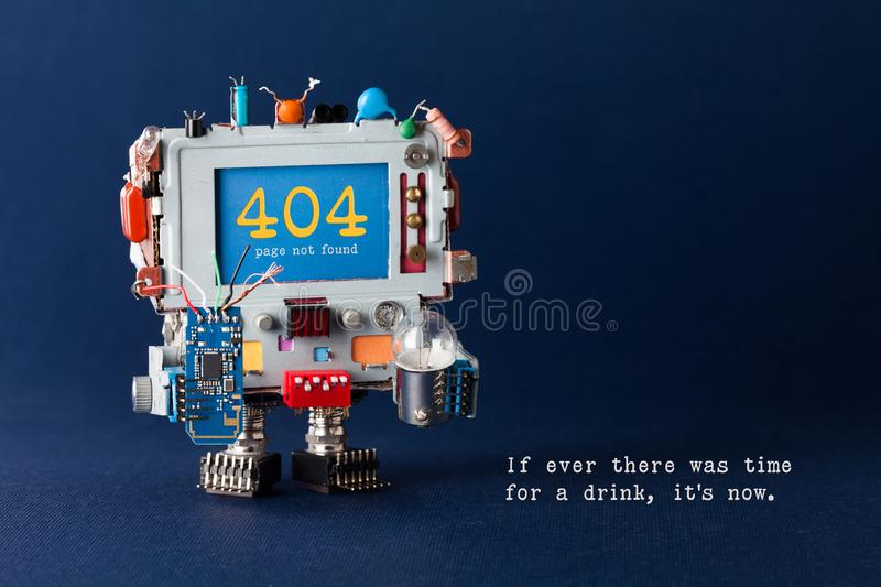 Error 404 page template website. Handyman robot computer, colorful capacitors, circuit light bulb in hands. Warning royalty free stock photos