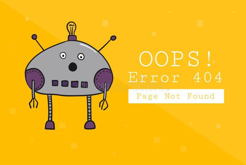 Error 404 Paginación no encontrada Plantilla del diseño con el texto y el robot Ejemplo para un sitio web Oops el problema de ilustración del vector