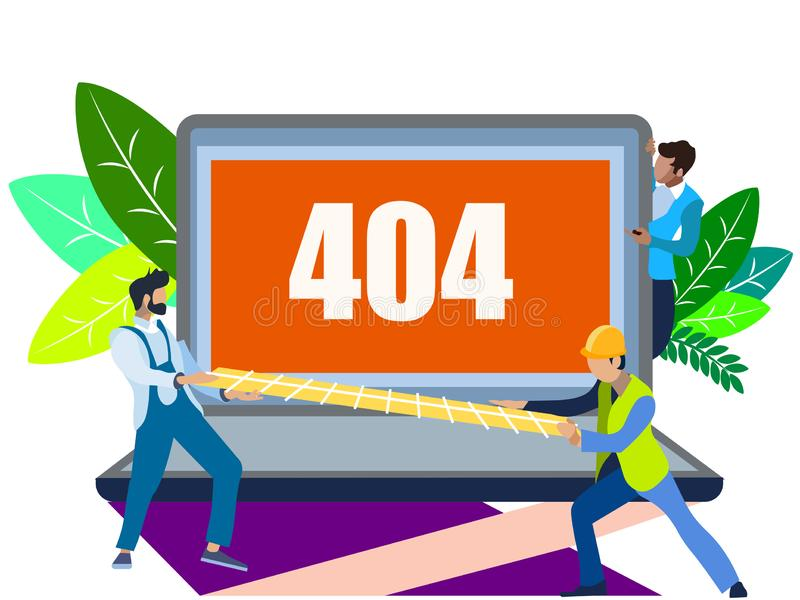 Error 404 screen. The server can not find data according to the request. In minimalist style. Flat isometric raster royalty free illustration