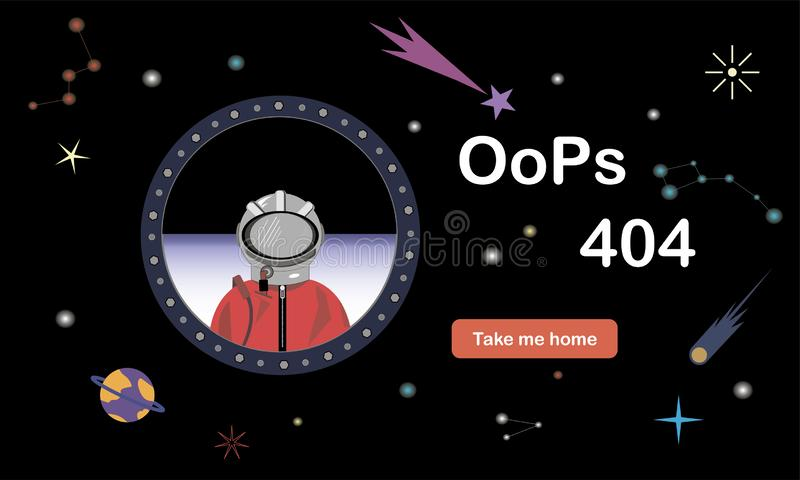 Error 404. Site not found. Illustration of an astronaut in free space. Space background. Vectorana illustration. Error 404. Site not found. Illustration of an vector illustration