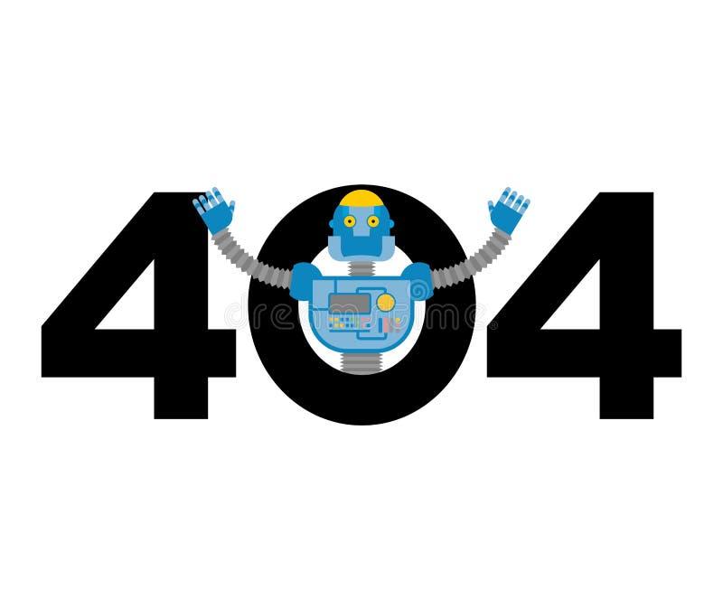 Error 404 sorpresa del robot Plantilla no encontrada de la página para el sitio web ilustración del vector