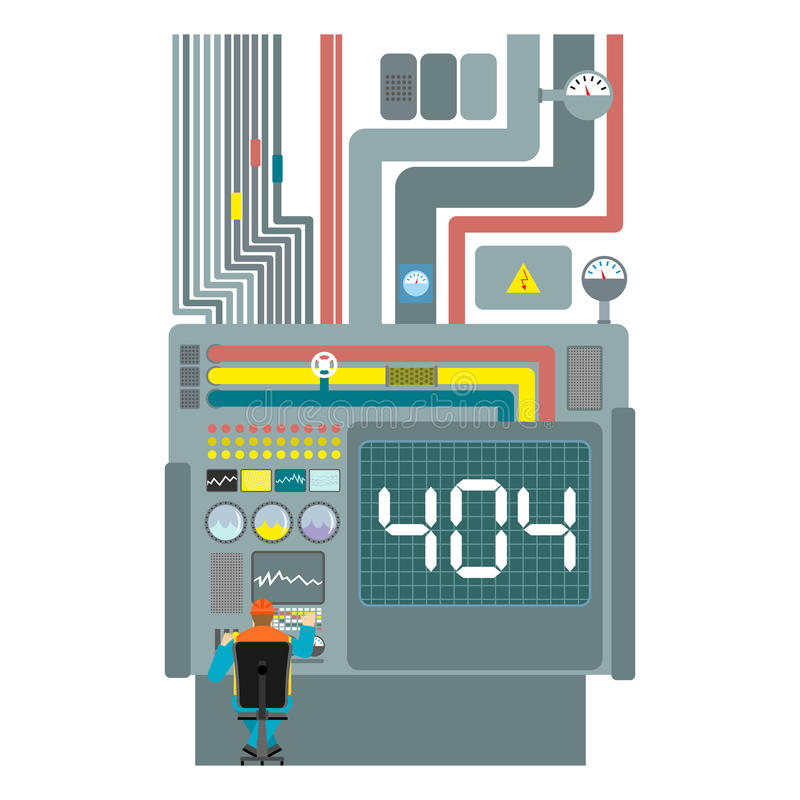 Error 404. System production failure. Page not found template for web site. fault Factory. Page lost and found message. problem d royalty free illustration