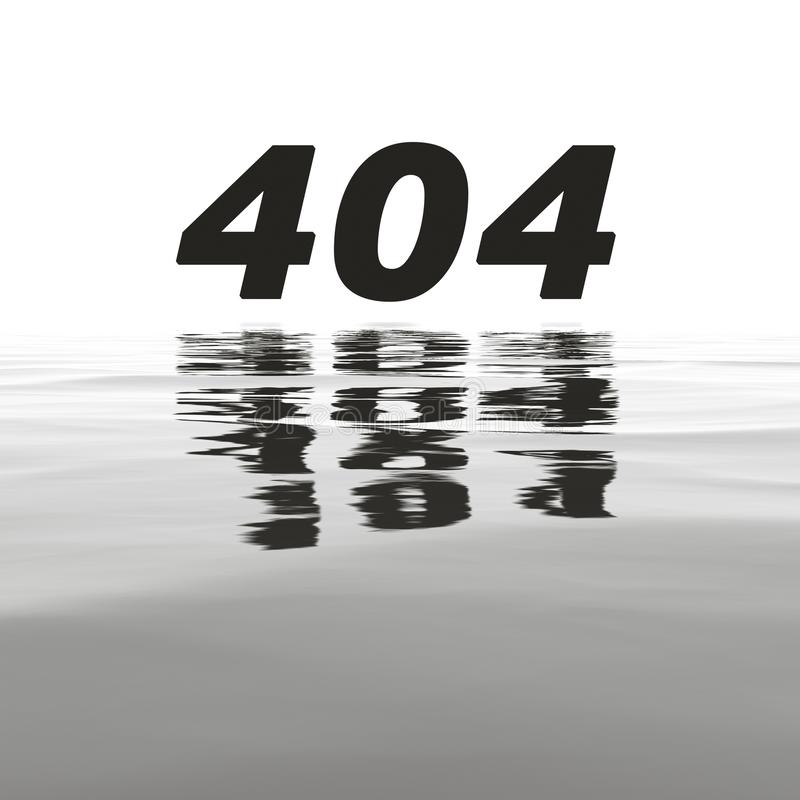 404 error with water reflections stock illustration