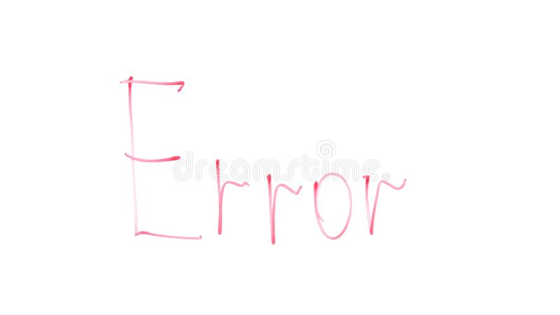 Error word written on glass, system blocking attempts of crack or hack, failure. Stock photo royalty free stock photos
